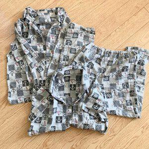 Boy's Anchor Nautical Pajama Set 3 Pieces Grey
